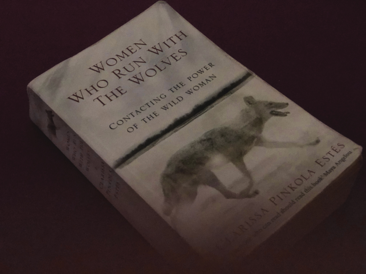 "dark picture of book ""Women who run with the wolves"" by Clarissa Pinkola Estes"